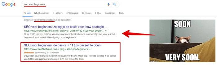 hoge positie in google