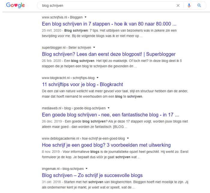SERP concurrentieonderzoek voor het schrijven van een blog