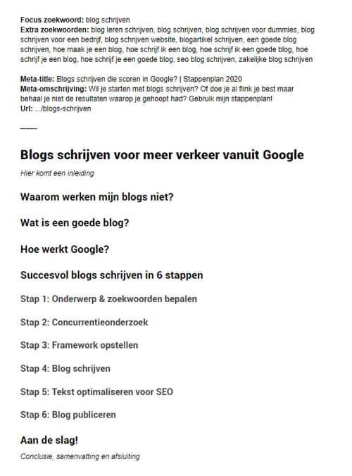 Framework om een blog te schrijven