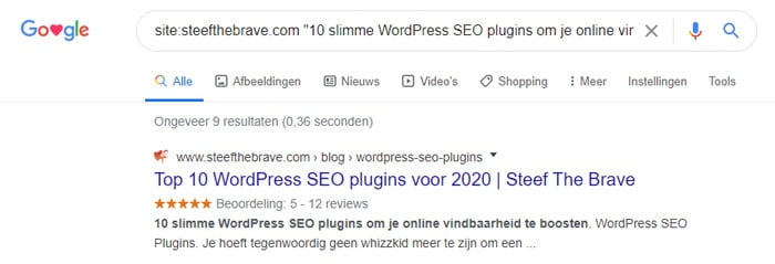 Indexatie in Google controleren